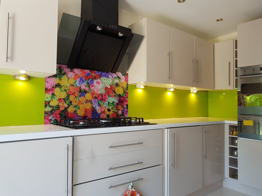 lime green and roses in kitchen