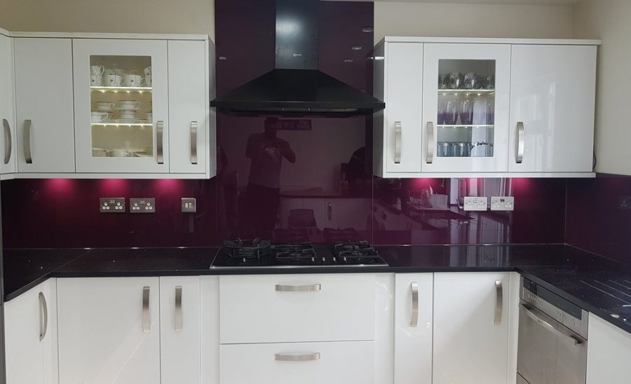 Aubergine glass for the kitchen walls