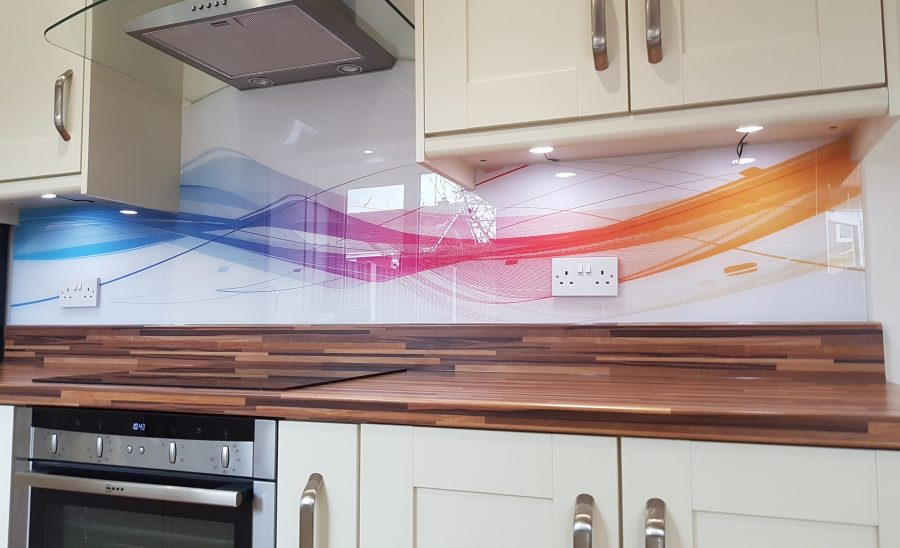 vector wave printed pattern glass splashback