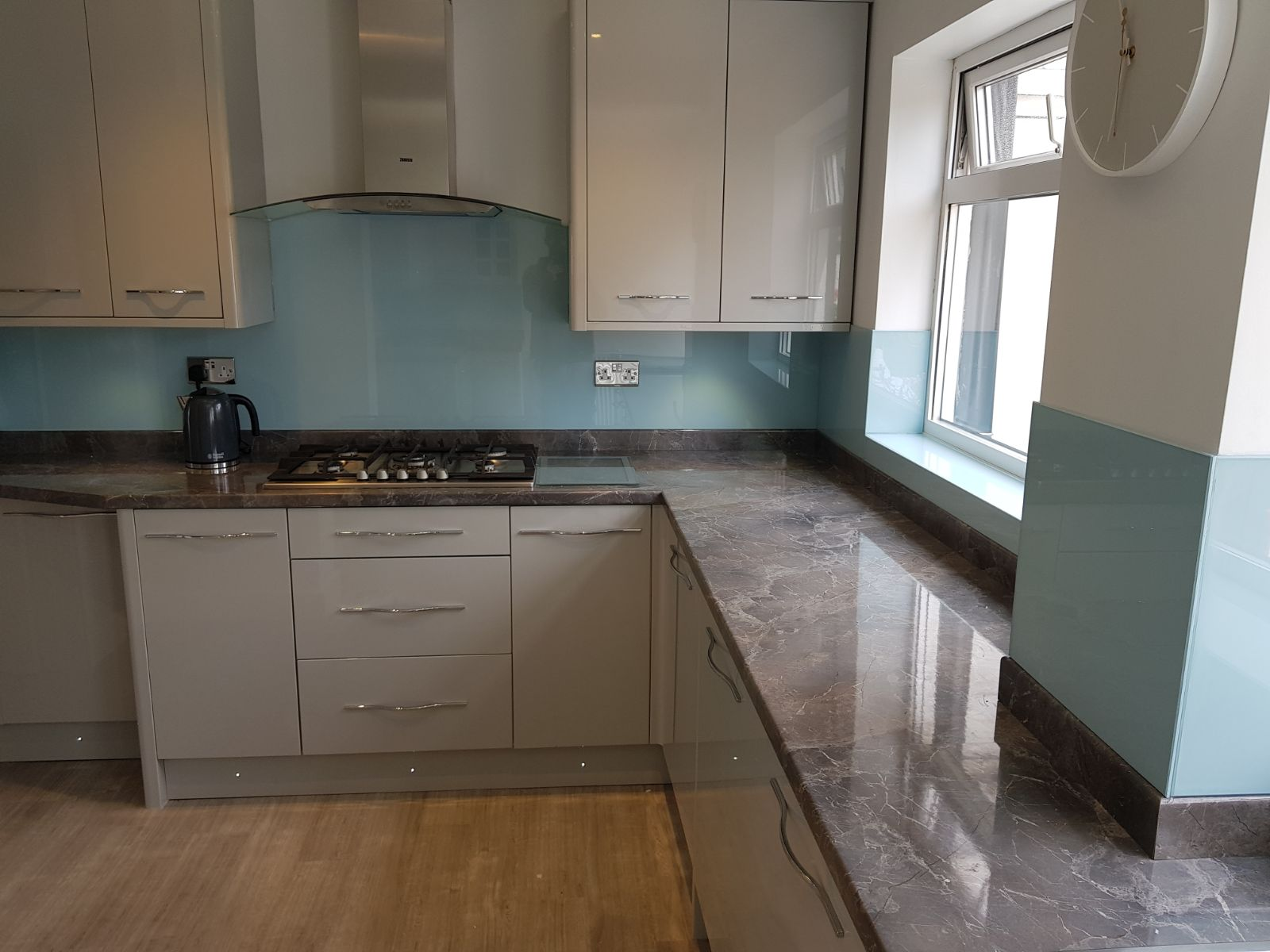 duck egg blue soft looking kitchen wall glass