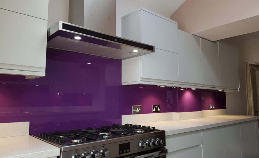 purple glitter on glass applied to kitchen walls
