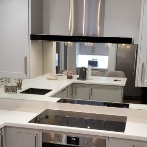 toughened silver mirror glass splashback